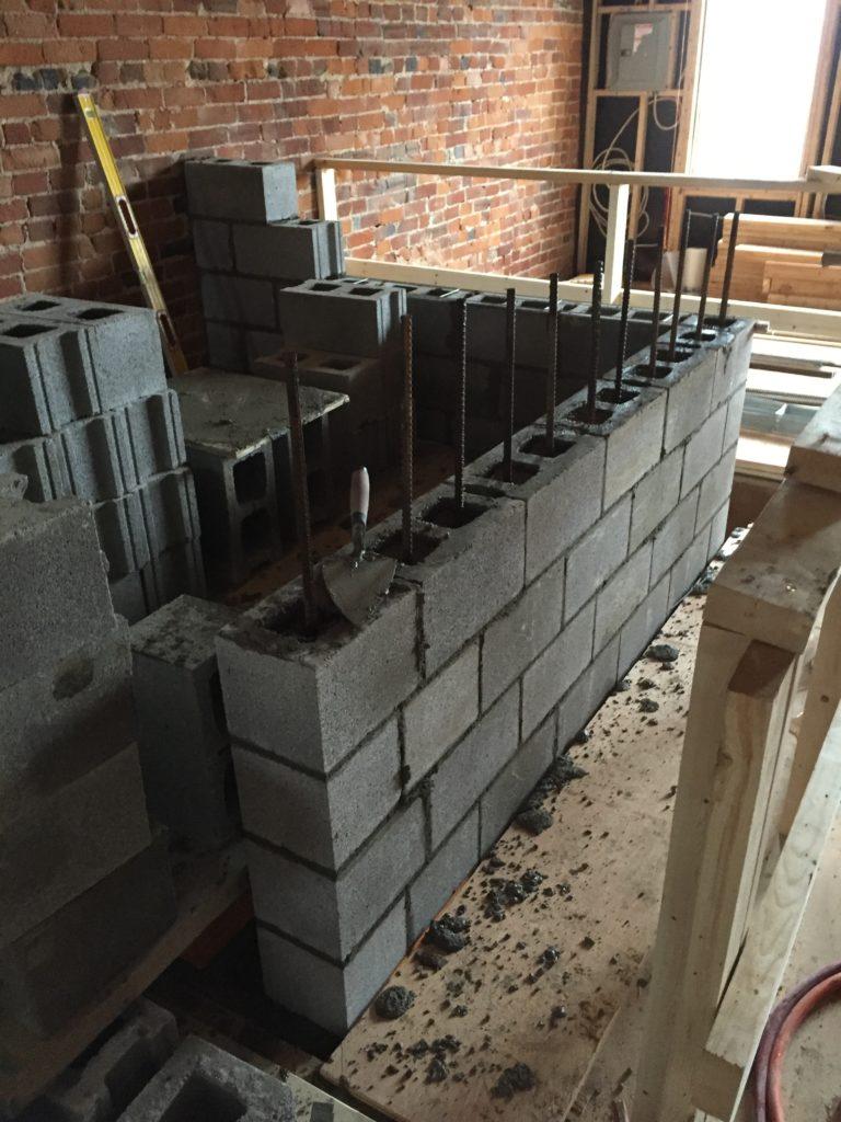 Concrete Block Elevator Shaft Bond Masonry Ltd
